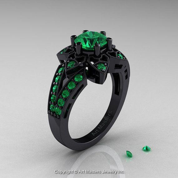 Art Deco 14K Black Gold 1.0 Ct Emerald Wedding Ring