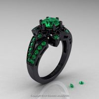 Art Deco 14K Black Gold 1.0 Ct Emerald Wedding Ring