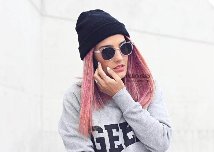 Maria Pita from Fashion Crack in Krisp Geek print jumper http://www.krisp.co.uk/clothing-c1/slogan-tops-c92/misskrisp-grey-geek-print-sweatshirt-jumper-p5859