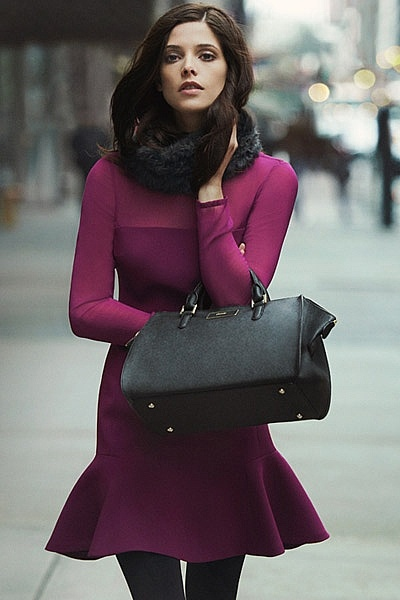 Ashley Greene for DKNY in raspberry+black...stunning