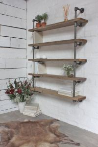 Reclaimed Scaffolding And Dark Steel Pipe Shelving ...