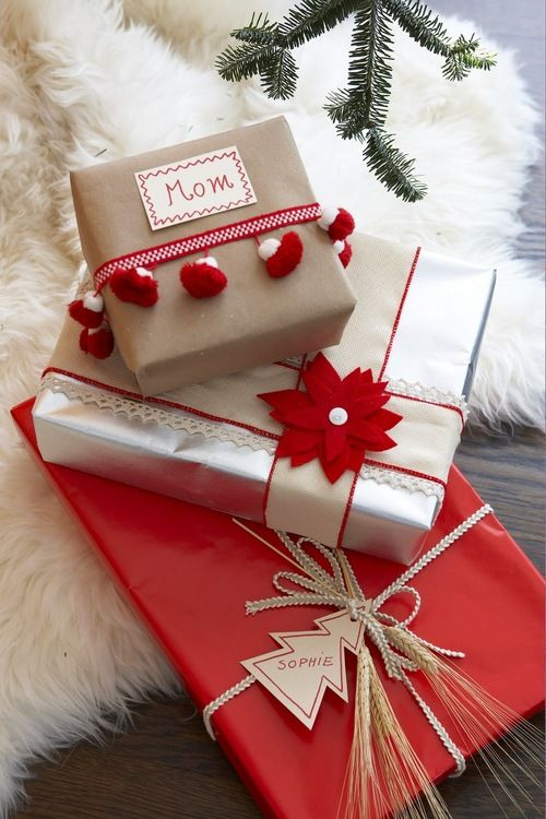 Christmas wrapping, pom poms, ribbons