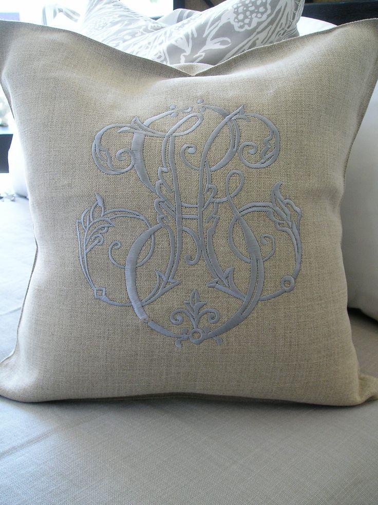 Periwinkle monogram on flax linen pillow