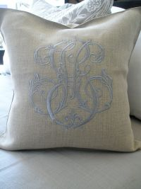 Periwinkle monogram on flax linen pillow