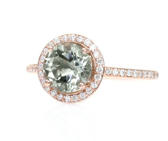 Rose Gold Ring: Green Amethyst Rose Gold Ring