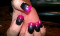 Pink, black ombre | Nails | Pinterest