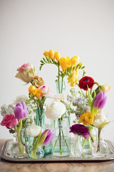 Colourful spring florals served on a tray