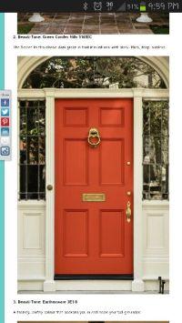 Orange front door | decor | Pinterest
