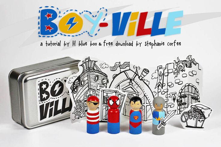 DIY superhero peg dolls with free download via lilblueboo.com