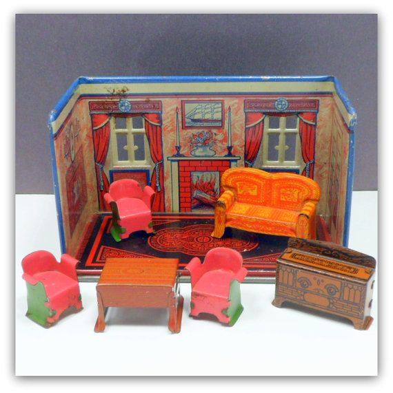 Marx Tin Lithograph Dollhouse Living Room w by