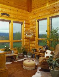 Simple window treatment-wood blinds | log cabin ideas ...