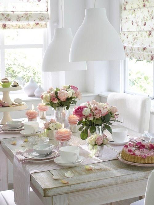 Table setting - breakfast pink .:. Organização da mesa rosa bebê, rosa claro, para café da manhã
