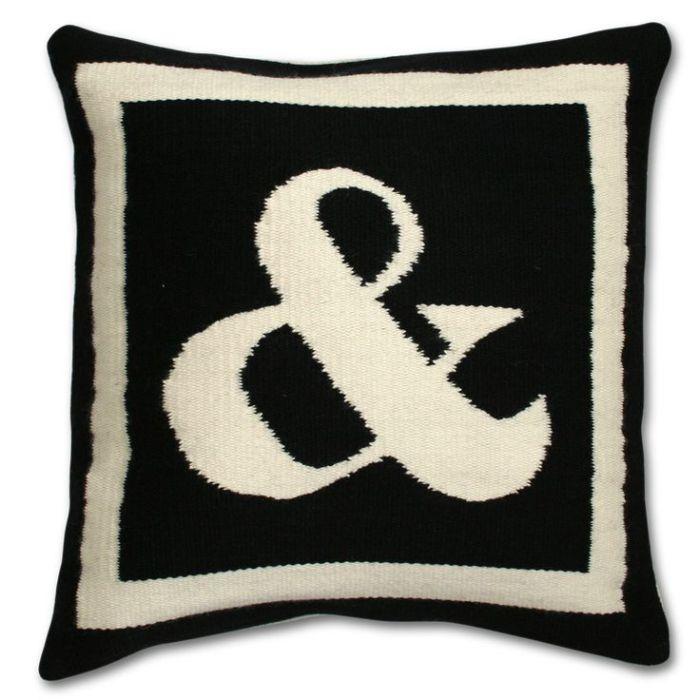 #Modern #Throw #Pillows | Reversible Woven Wool Letter Throw Pillow | $125