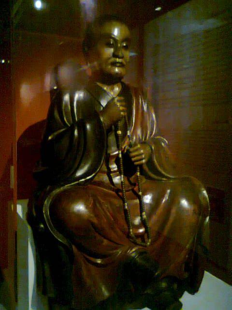 Portrait d'un laïc, sculpture bois de cyprès et cristal de roche (Japon, époque d' Edo)