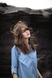 hair blowing in wind