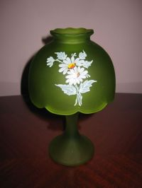 "Westmoreland glass green 8"" fairy lamp"