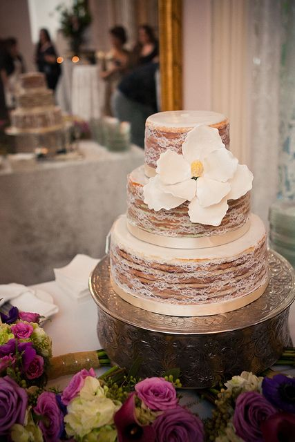 Lace Doberge Magnolia Naked Wedding Cake