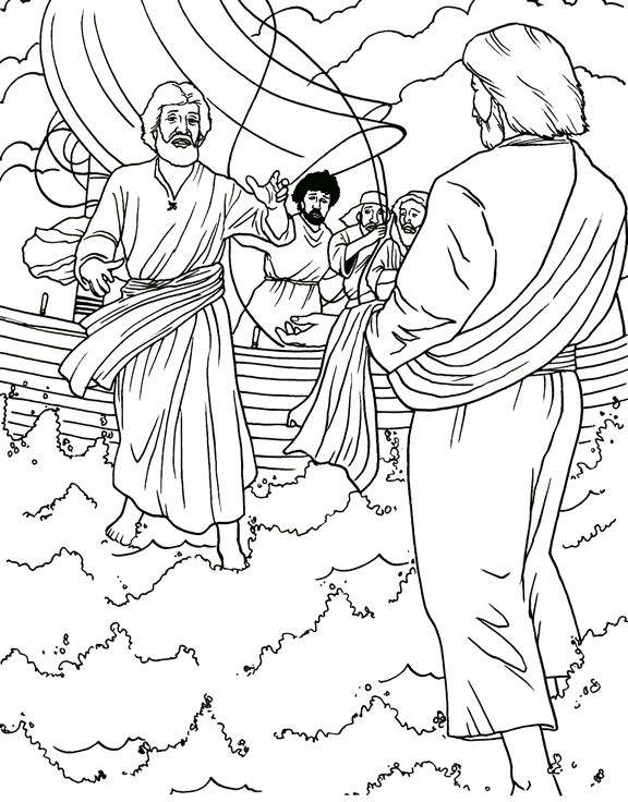 Jesus And Peter Fishing Coloring Page Sketch Coloring Page