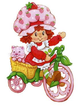 Vintage Strawberry Shortcake the cartoon - on her bike and with her cat.