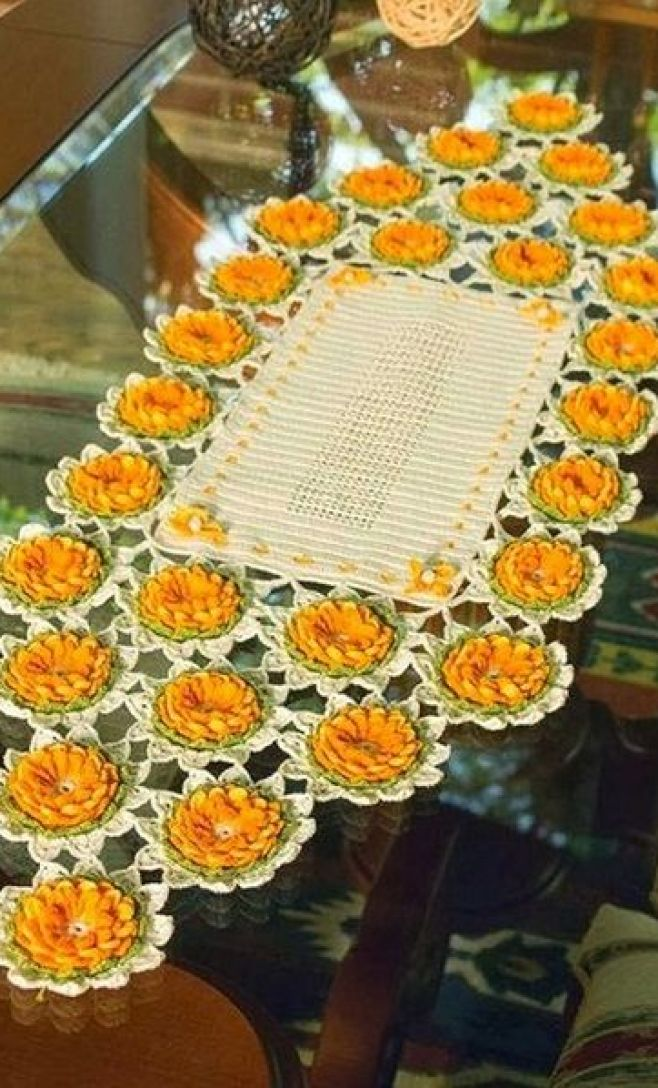 Crochet yellow flower centerpiece ♥LCD-MRS♥ with diagrams.