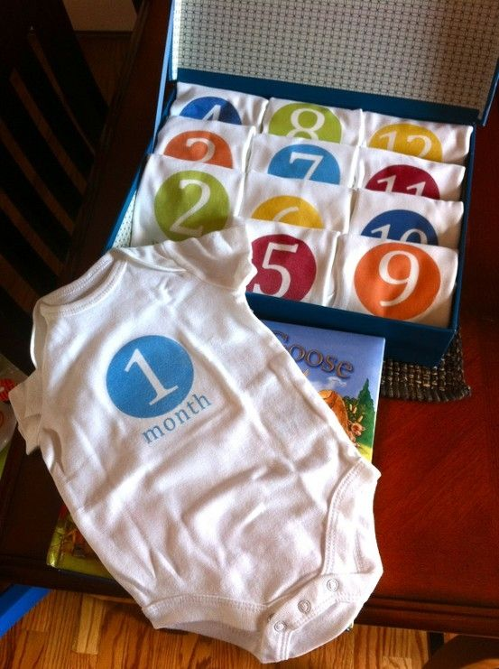 one a month for the first year. take monthly pictures to see how much baby changes!! cute, easy little gift