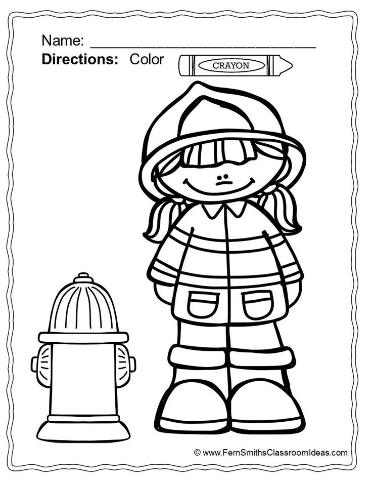Free coloring pages of preschool fire safety