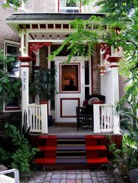 beautiful red front porch design