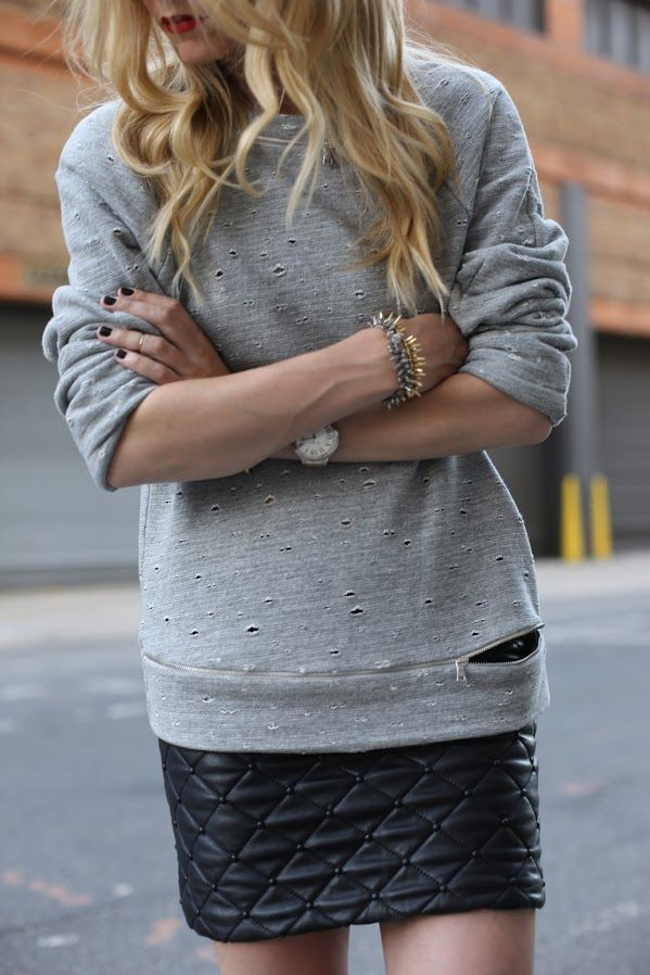 Shredded Sweater + Quilted Leather