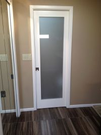 Frosted glass pocket door | Shore house ideas | Pinterest