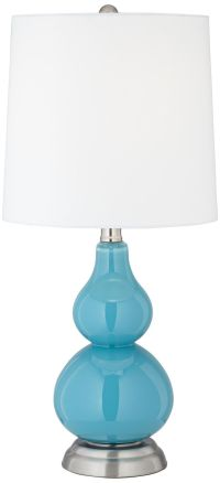Turquoise Blue Small Gourd Accent Table Lamp
