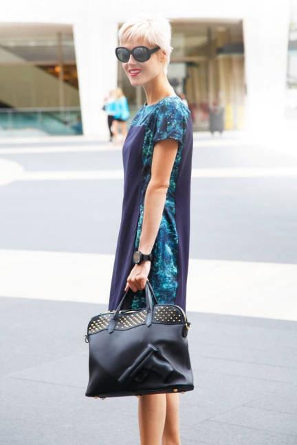 Linda Tol and her Guardian Angel bag, New York Fashion Week,2012  elle.com