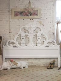 Painted Cottage Chic Shabby White Romantic Headboard KING ...