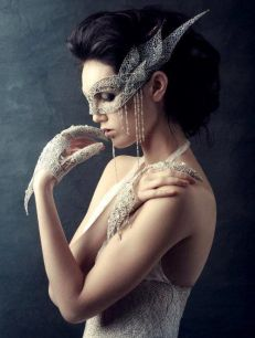 Lace, pearl & rhinestone mask, gloves and gown... truly lovely! This would be amazing in a wedding in place of the bride's veil. Fascinating