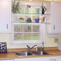 DIY Glass Shelves in Front of Kitchen Window