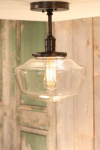 "Downrod Pendant Lighting with 10"" Clear Schoolhouse Style ..."