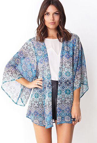 Ornate Chiffon Kimono | LOVE21 - 2000126369