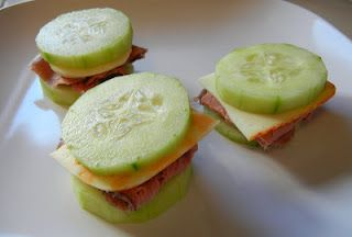Cucumber sandwiches. Who needs bread or crackers?  -just need nitrate free lunch meat or bacon.