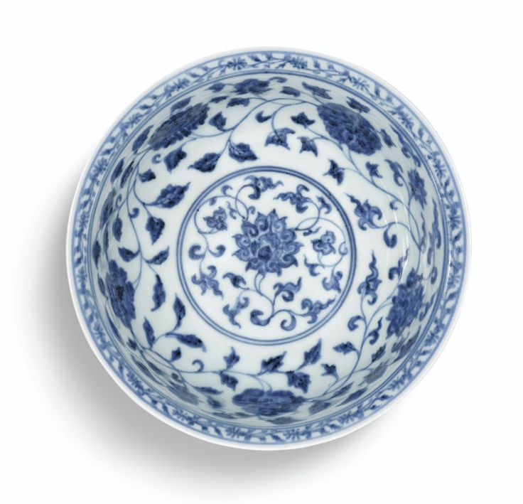 A FINE BLUE AND WHITE 'LOTUS SCROLL' BOWL<br>MARK AND PERIOD OF XUANDE | Lot | Sotheby's