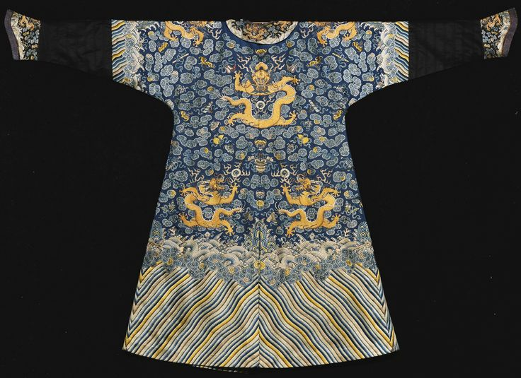 A BLUE EMBROIDERED SEMI-FORMAL DRAGON ROBE (JIFU)<br>QING DYNASTY,JIAQING PERIOD | Lot | Sotheby's