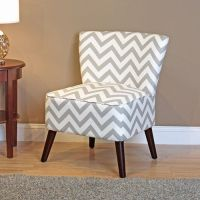 Kinsley Chevron Accent Chair, Gray and White
