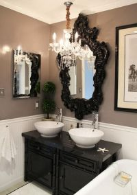 Black, white, and tan bathroom | Beautiful Decor | Pinterest