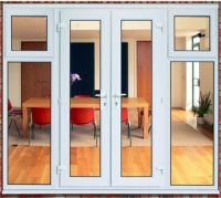 White Upvc French door and side panels with opening ...