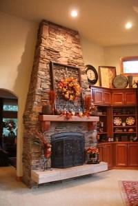 Fall Wreath above Fireplace | Fall | Pinterest