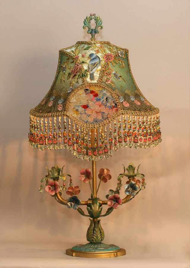 Lovely lamp with beaded and embroidered shade