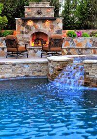 Beautiful backyard pool and fireplace   Beautiful Homes ...