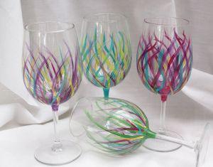 Painted Designs On Wine Glasses