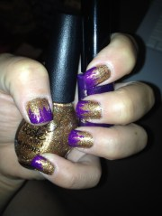 gold purple nail polish art