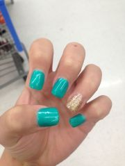 teal and gold gel nails style