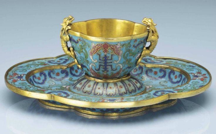 A rarecloisonnéenamel quadrilobed cup and stand, 17th-18th century