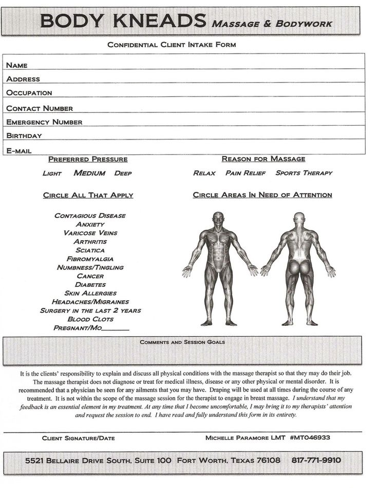 Client Intake Form Massage Therapy Template  Best Client